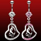 Clear Solitaire Clear Pave' Heart Dangle Kitty Cat Charm Belly Button Navel Ring Bar (6493)