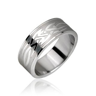 Stainless Steel Tribal Design Etched Mens Band Ring Size 10 (10135)