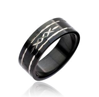 Black Diamond-Cut Unisex Stainless Steel Band Ring Size 10 (7042)