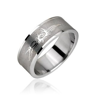 Stainless Steel Tribal Design Etched Mens Band Ring Size 12 (10144)