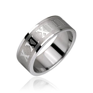 Stainless Steel Roman Numeral Etched Mens Band Ring Size 9 (10140)