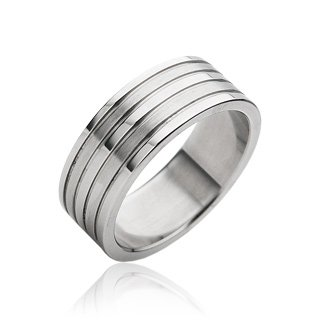 Stainless Steel Mens Grooved Band Ring Size 9 (068)