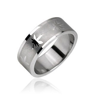 Stainless Steel Marijuana Pot Leaf Etched Mens Band Ring Size 9 (10145)