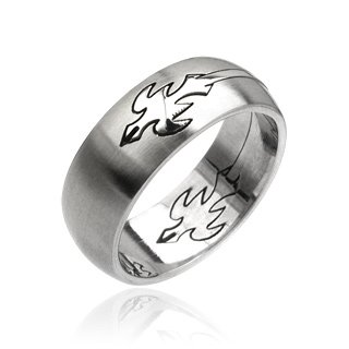 Stainless Steel Mens Tribal Phoenix Carved Band Ring Size 12 (043)