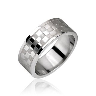 Stainless Steel Checkerboard Etched Mens Band Ring Size 9 (10172)