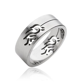Stainless Steel Mens Tribal Dragon Cut-out Band Ring Size 13 (013)
