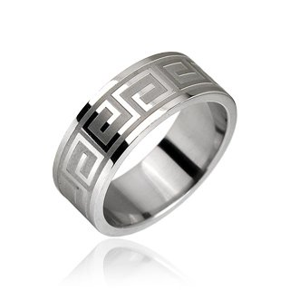 Stainless Steel Key Design Etched Mens Band Ring Size 9 (10286)