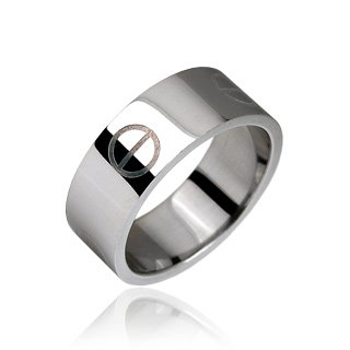 Stainless Steel Mens Screw Head Style Band Ring Size 9 (10315)