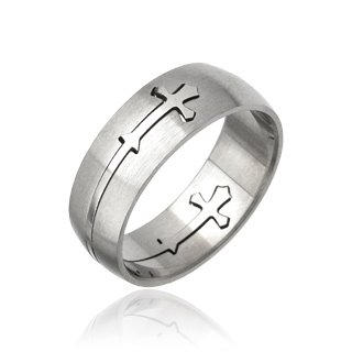 Stainless Steel Mens Cross Carved Band Ring Size 10 (054)