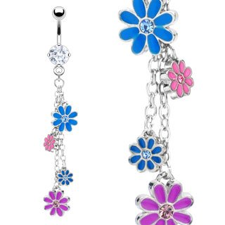 Enamel Flower Dangle Gem Belly Button Navel Ring Bar 14 gauge (0729)