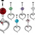 Green CZ Heart Dangle with Gem Belly Button Navel Ring Bar 14 gauge (2259)