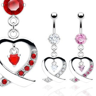 Red CZ Pave' Heart Dangle Belly Button Navel Ring Bar 14 gauge 3/8 (6770)