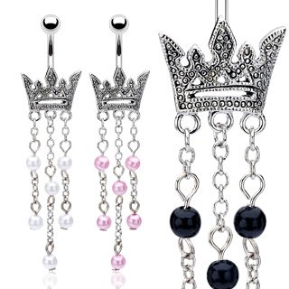 Crown Belly Button Navel Ring Bar Pink Faux Pearl Dangle 14 gauge 3/8 (6449)