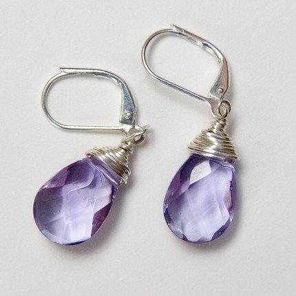 Lavender Briolette Wire Wrapped Earrings