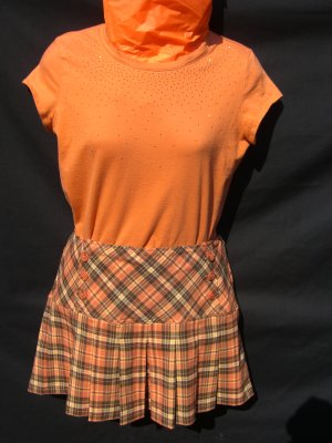 "Orange ""schoolgirl"" outfit"