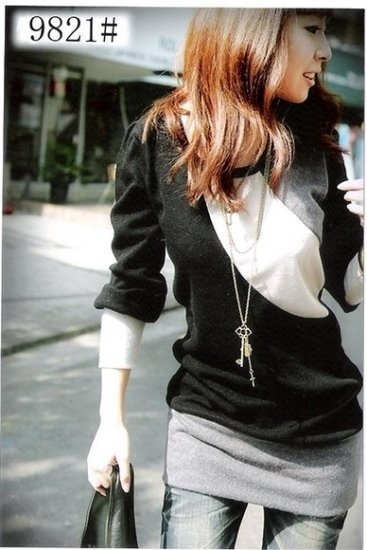 HOT ITEM~ Japan 3/4 Sleeve Black and White Soft Cotton Wool Top
