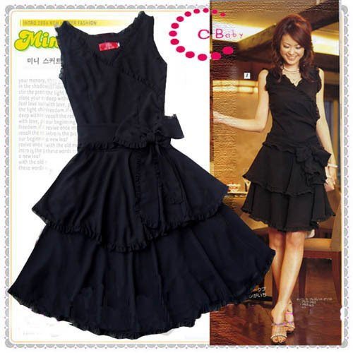 Classic Prom Cocktail Gown Black Chiffon Dress- SOLD OUT