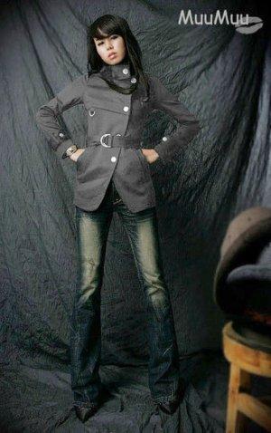 Korean Gray Military Style Strap Coat