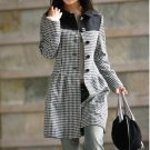 Korean Black Lattice Wool-Blend Dress Coat