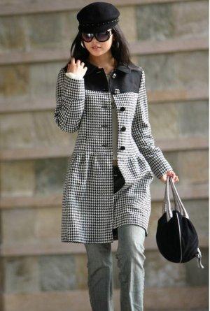 Korean Black Lattice Wool-Blend Dress Coat