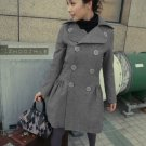 HOT ITEM~  Korean Gray Double Breast Dress Coat