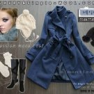 Korean Navy Strap Wool-Blend Trenchcoat