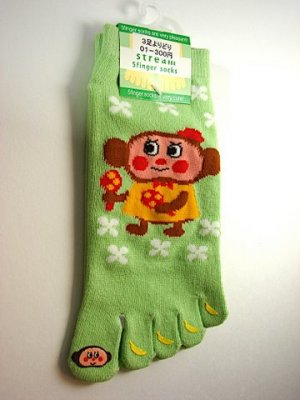 NEW~ Japanese Monkey with Banana Five-Finger Socks