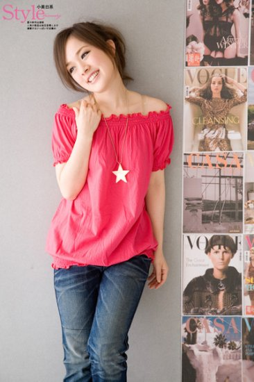 Off-shoulder cotton top #1484 Red