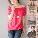 Off-shoulder cotton top #1484 Red
