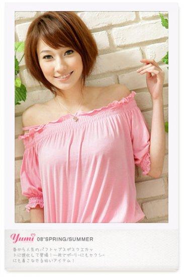 Off-shoulder cotton top #1484 Pink