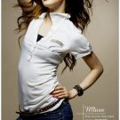 Hot item~Lovely trim cotton top #8924 White