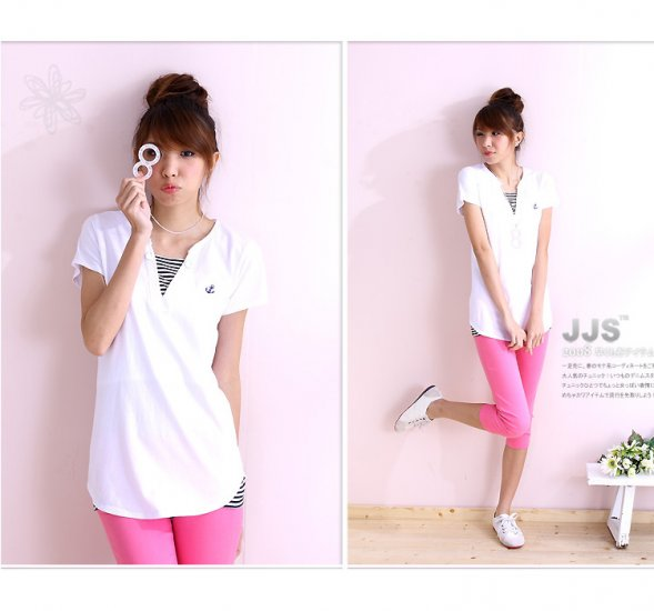 Hot item~Lovely Comfy cotton top #8902 White