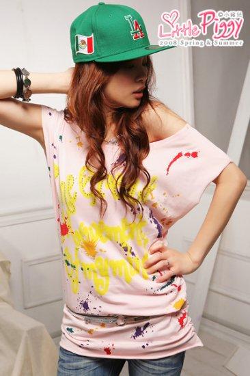 Colorful Lovely Comfy Off-shoulder cotton top #8913 Pink