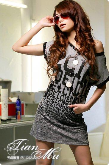 off-shoulder sexy shiny cotton top #1462 Grey