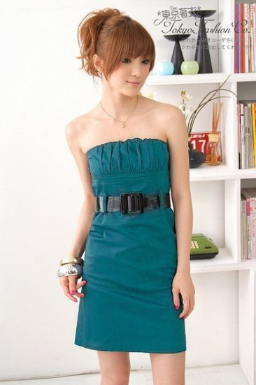 Low-cut cotton dress #1478 Blue