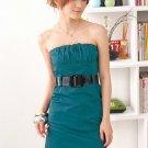 Low-cut cotton dress #1478 Blue