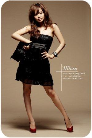 Low-cut sexy shiny cotton dress #8877 Black