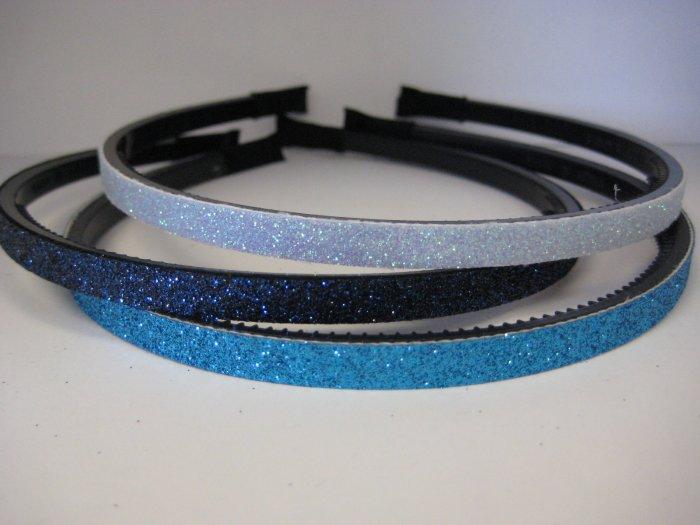 GLITTER HEADBANDS Thin 3-Pack *LIGHT BLUE-NAVY-TURQUOISE*