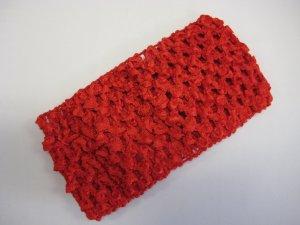 CROCHET HEADBAND *RED* Stretchy Thick