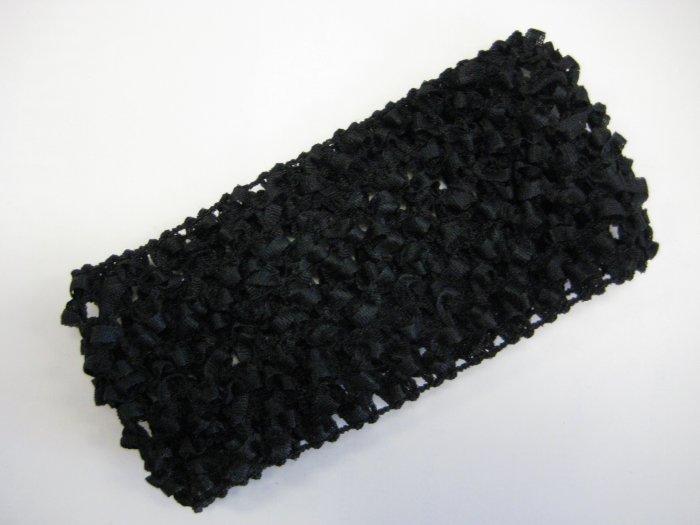 CROCHET HEADBAND *BLACK* Stretchy Thick