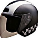 OPEN FACE HELMET 20240 SILVER CHECKERBOARD - L