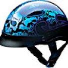 HALF HELMET 100133 BLUE TRIBAL SKULL   -   L