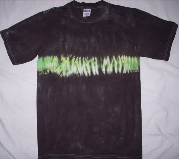 Green Line on Black Tie Dye Adult Size Small