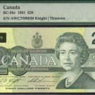 1991 $20 AWC knight /thissen  BANK OF CANADA PMG66 gem