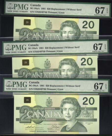 "1991 EIX (3 consecutive) $20 ""replacement"" BANK OF CANADA PMG67 gems"