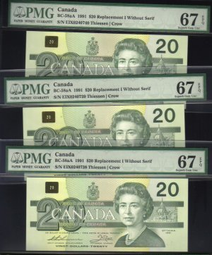 """1991 EIX (3 consecutive) $20 """"replacement"""" BANK OF CANADA PMG67 gems"""