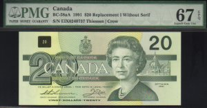 """1991 EIX  $20 """"replacement"""" BANK OF CANADA PMG67 gem"""