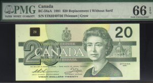 """1991 EIX  $20 """"replacement"""" BANK OF CANADA PMG66 gem"""