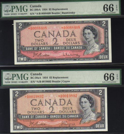 """1954 $2 """"replacement"""" *A/B 2 different signatures BANK OF CANADA PMG66 gemS"""