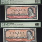 "1954 $2 ""replacement"" *A/B 2 different signatures BANK OF CANADA PMG66 gemS"